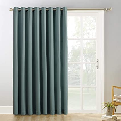 Sun Zero Easton Extra Wide Blackout Sliding Patio Door Curtain Panel With Pull Wand 100 X 84 Mineral Single Panel