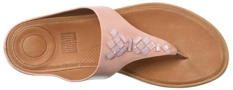 FitFlop Women's Banda Leather Toe-Thong Crystal Slide Sandal B077Y7G7YG 10 M US|Dusky Pink