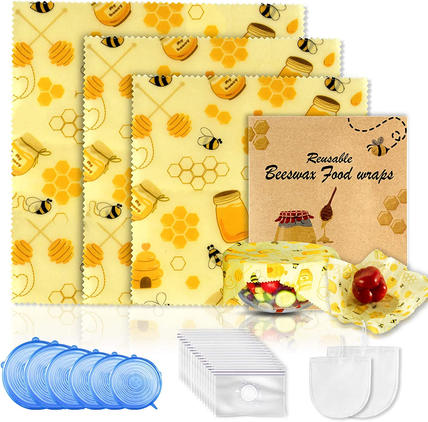 28 Pack Beeswax Wrap & Reusable Food Storage Bag & Silicone Stretch Lids,Eco-Friendly Freezer Preservation Bags for Vegetable,Fruit,Snack,Lunch,Cereals.