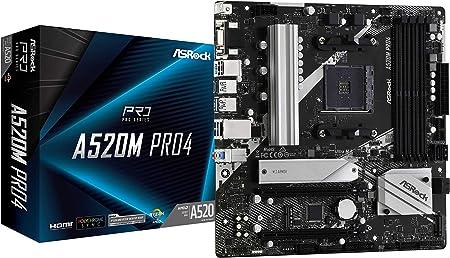 Asrock A520m Pro4 Matx Motherboard Socket Am4 M 2 Hdmi Computers Accessories