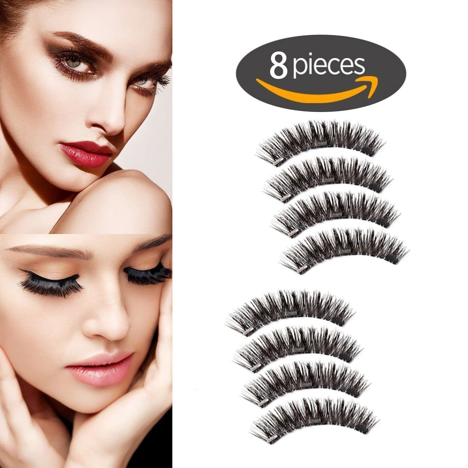 6f90c270801 Amazon.com : Magnet Eyelashes-Dual Magnetic False Eyelashes with NO GLUE 3D  Fiber Reusable Best Fake Lashes Extension for Natural Look, Perfect for  Deep Set ...