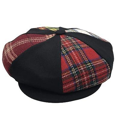 cf3bec6726851 Amazon.com: Patch Combo Wool Applejack Newsboy Cap Made in USA ...