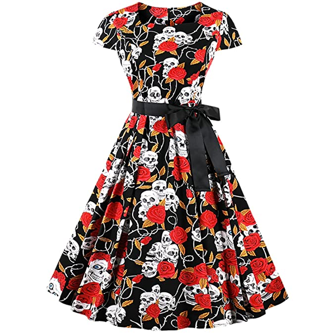 310b2ea508aa Image Unavailable. Image not available for. Color  LaceLady Short Sleeves  Vintage Dress Semi Formal Floral ...