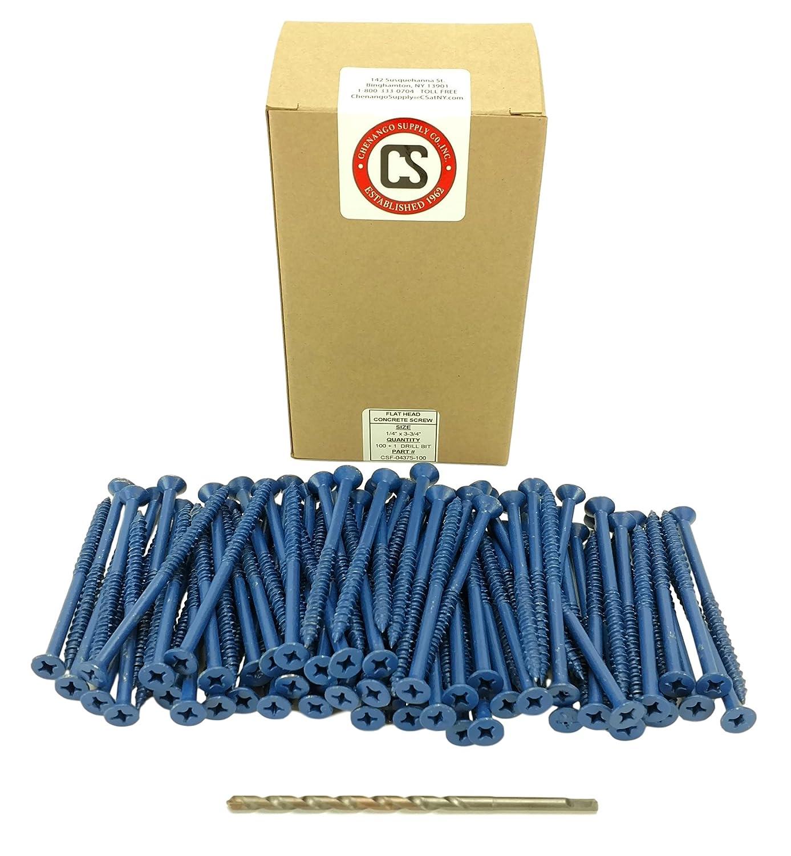 Miami-Dade Compliant Chenango Supply 1//4 x 3-3//4 Flat Head Concrete Screw Anchor 1//4 x 3-3//4 100 pieces With Drill Bit