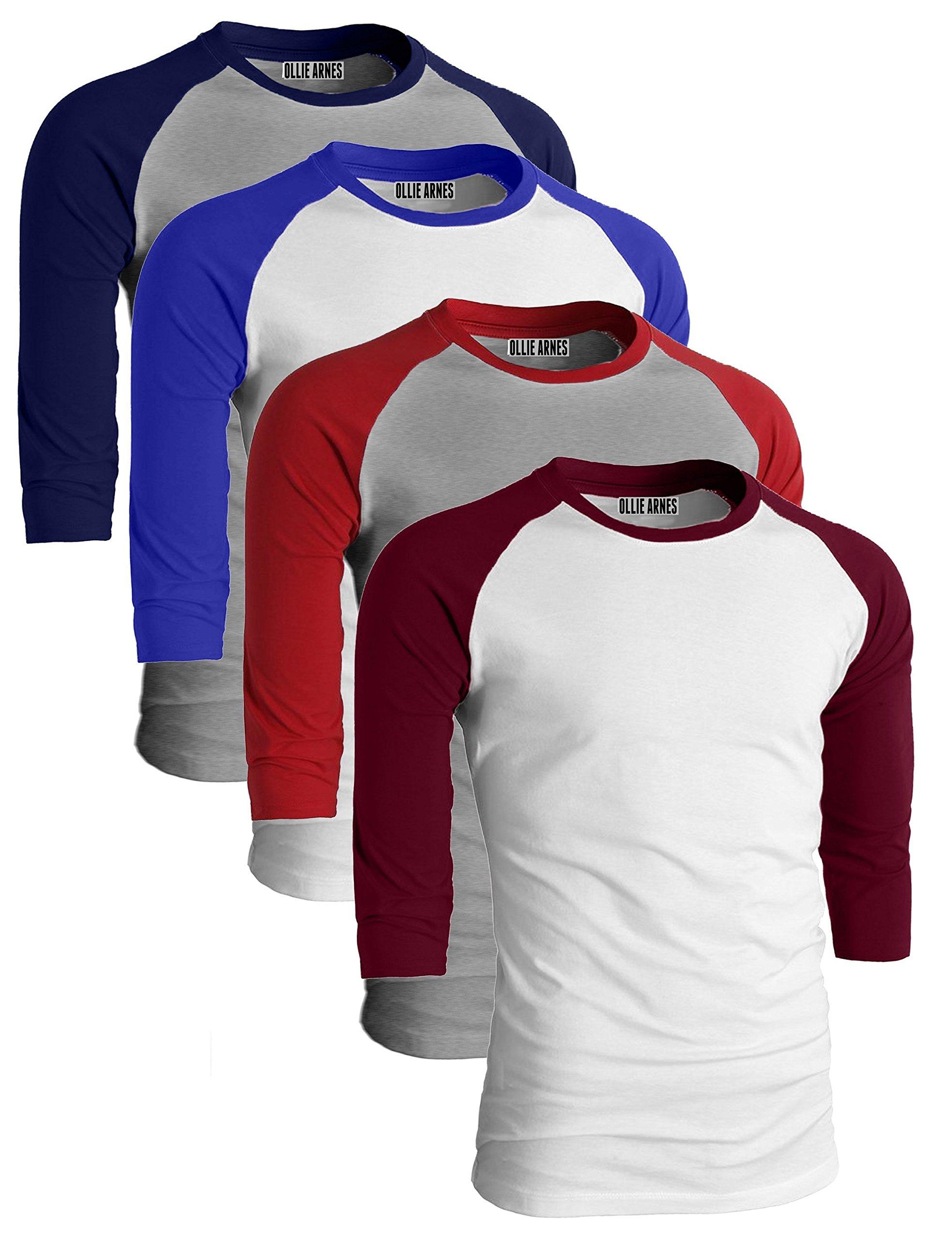 Ollie Arnes Men's Basic Crewneck 3/4 Sleeve Cotton