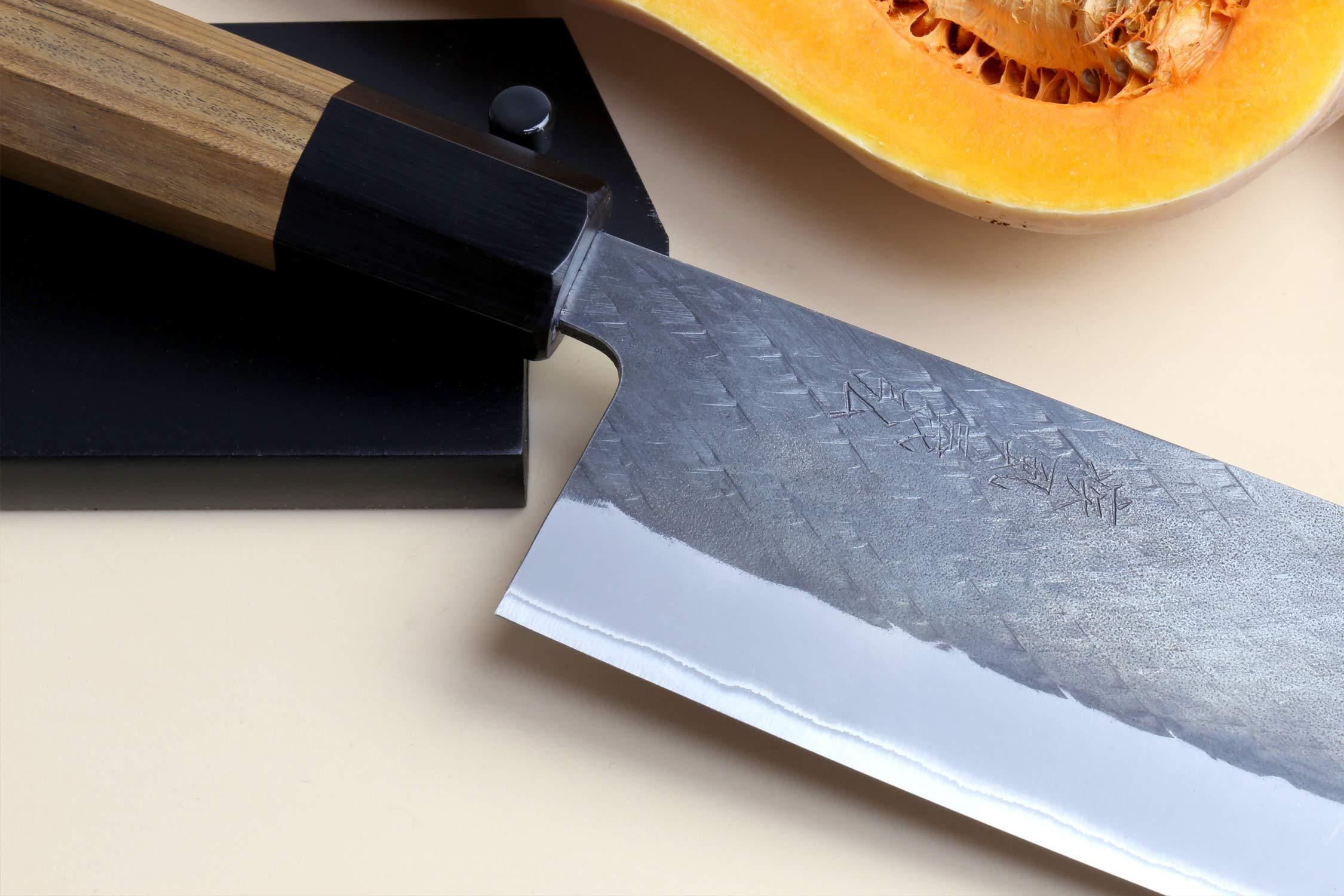 Yoshihiro Kurouchi Black-Forged Blue Steel Stainless Clad Nakiri Japanese Vegetable Knife (6.5'' (165mm) & Saya) by Yoshihiro (Image #5)
