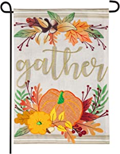 Evergreen Flag Autumn Outdoor House Flag with Pumpkins, Acorns and Leaves. Perfect for Thanksgiving Décor. Burlap Style Flag Gather Garden Flag - 12.5 x 1 x 18 Inches Indoor Outdoor Decor
