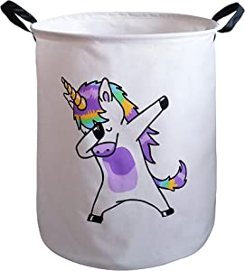 KUNRO Large Sized Storage Basket Waterproof Coating Organizer Bin Laundry Hamper for Nursery Clothes Toys (Dancing Unicorn)