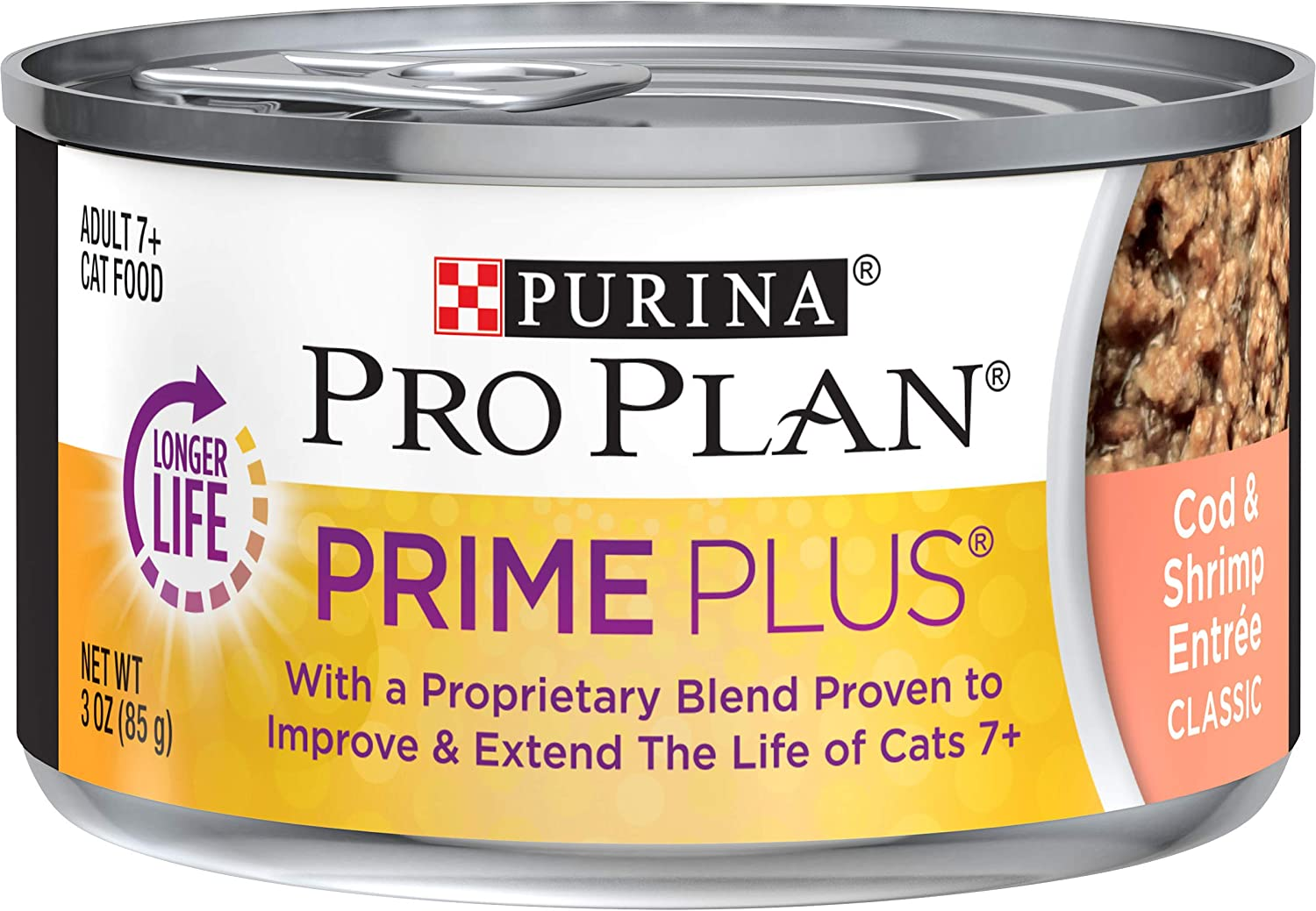 Purina Pro Plan Grain Free Senior Pate Wet Cat Food, PRIME PLUS Cod & Shrimp Entree - (24) 3 oz. Pull-Top Cans