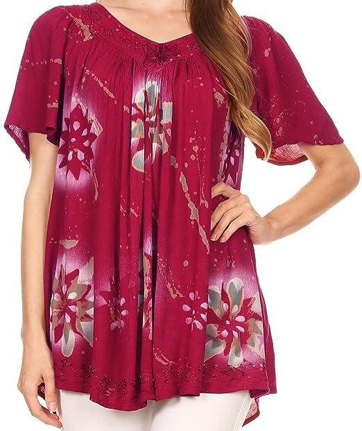 Sakkas S482417HS - Patrón Floral de la Amapola Mano teñida Tinte Blusa Superior de Lentejuelas con