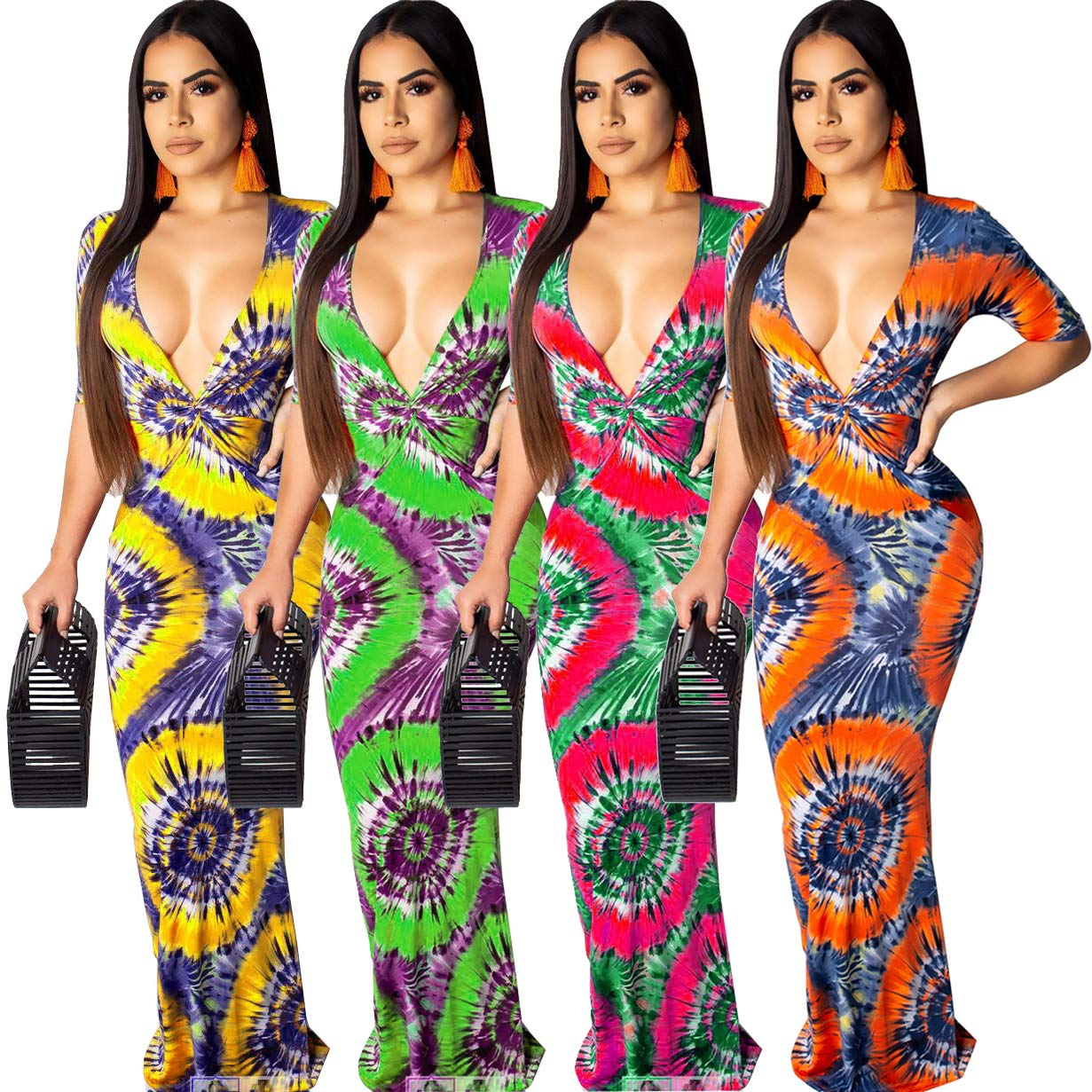 Choichic Women\'s Summer Bodycon Maxi Dress - Sexy Deep V Neck Short Sleeve Tie Dye Dresses Large Green