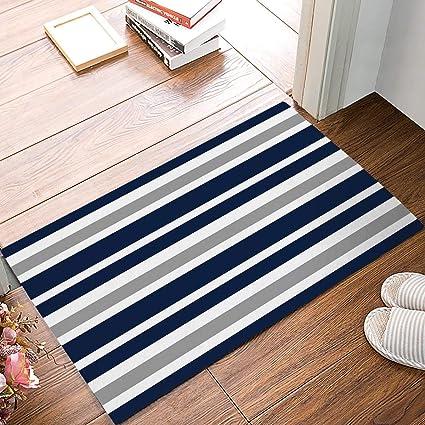 Amazon Com Onehoney Navy Blue White Stripes Welcome Doormats Non