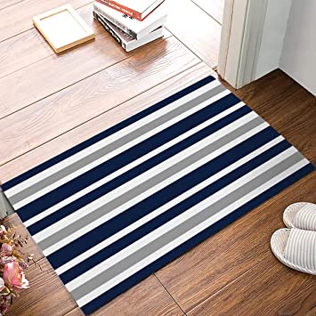 Amazon Com Onehoney Navy Blue White Stripes Welcome Doormats Non