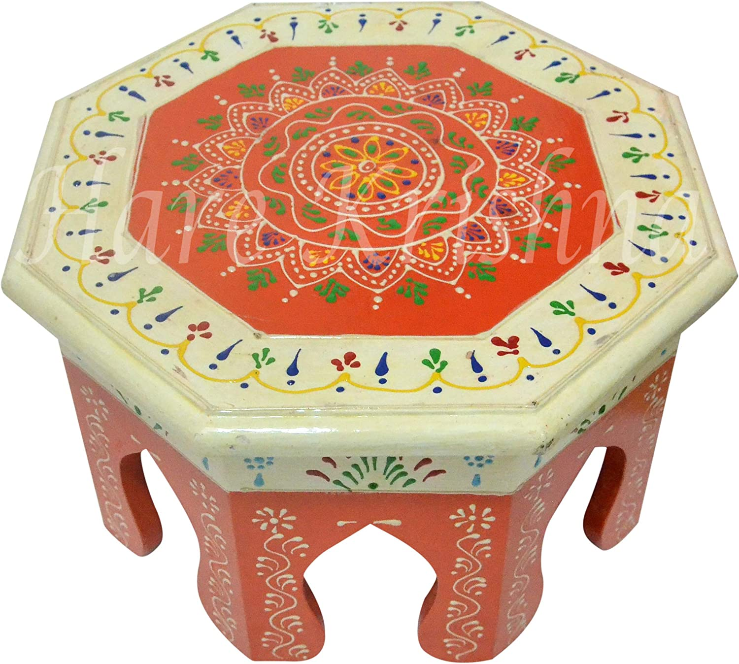Small Footstool Painted Wooden Furniture Low Wooden Gift Side Table (White & Orange) 10 x 10 x 6 Inches