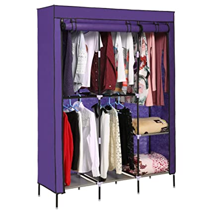 Elever Violet Clothes Wardrobe Storage Shelves With Hanging Rod Freestanding  Closet Organizer,US Stock