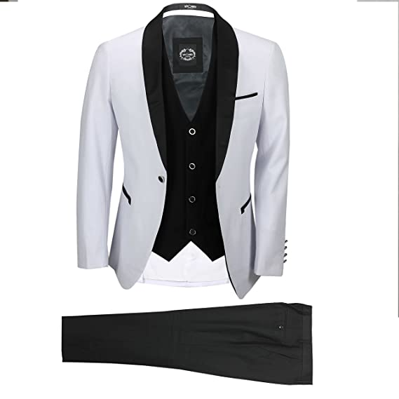 Xposed Mens White Black 3 Piece Tuxedo Suit Wedding Prom Party ...