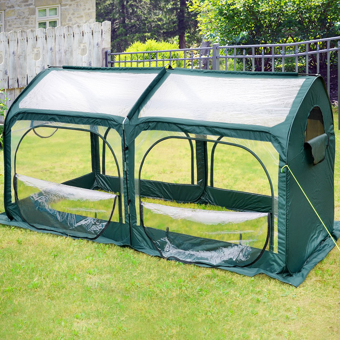 Green Quictent Pop up Greenhouse Passed SGS Test Eco-friendly Fiberglass Poles Overlong Cover Six Stakes 98 x49 x53  Mini Portable Green House (Green)