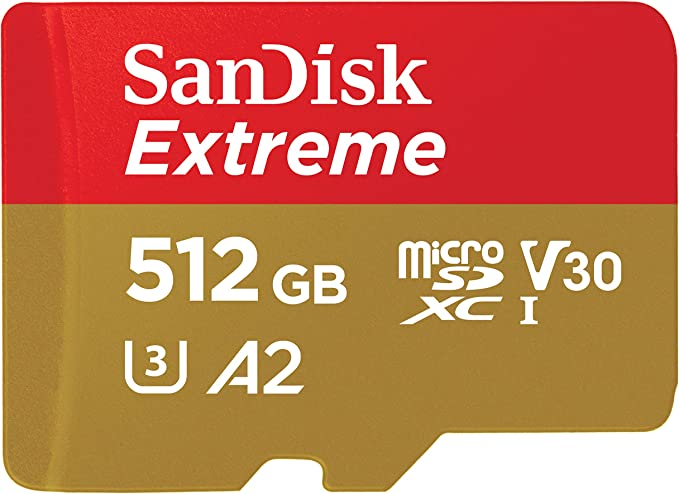 SanDisk 512GB Extreme MicroSDXC UHS-I Memory Card with Adapter - A2, U3, V30, 4K UHD, Micro SD - SDSQXA1-512G-GN6MA