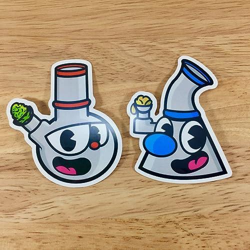 Pipehead bong bro dab dude cuphead mashup sticker pack