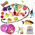 MIBOTE 24Pcs Cat Toys Kitten Catnip Toys Assorted, 2 Way Tunnel, Fish, Interactive Feather Teaser, Fluffy Mouse, Tumble Cage