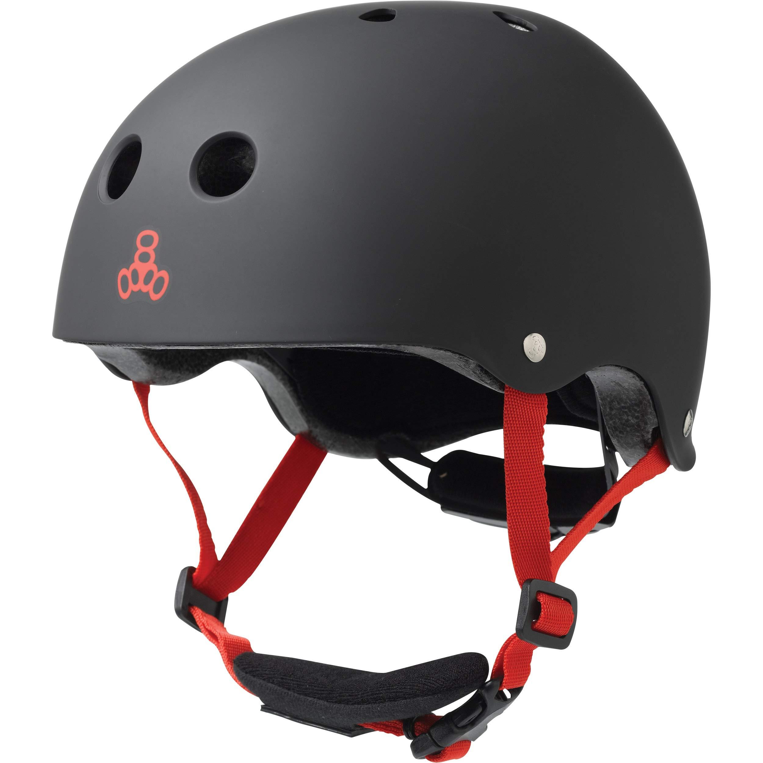 Triple Eight Lil 8 Dual Certified Sweatsaver Kids Skateboard and Bike Helmet with Padded Chin Buckle, Black Rubber by Triple Eight