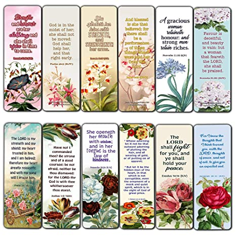 Religious Empowering Bible Verses Flowers Bookmarks for Women 12 Pack Collection of Inspiring and Motivational Bible Verses and Quotes for Women