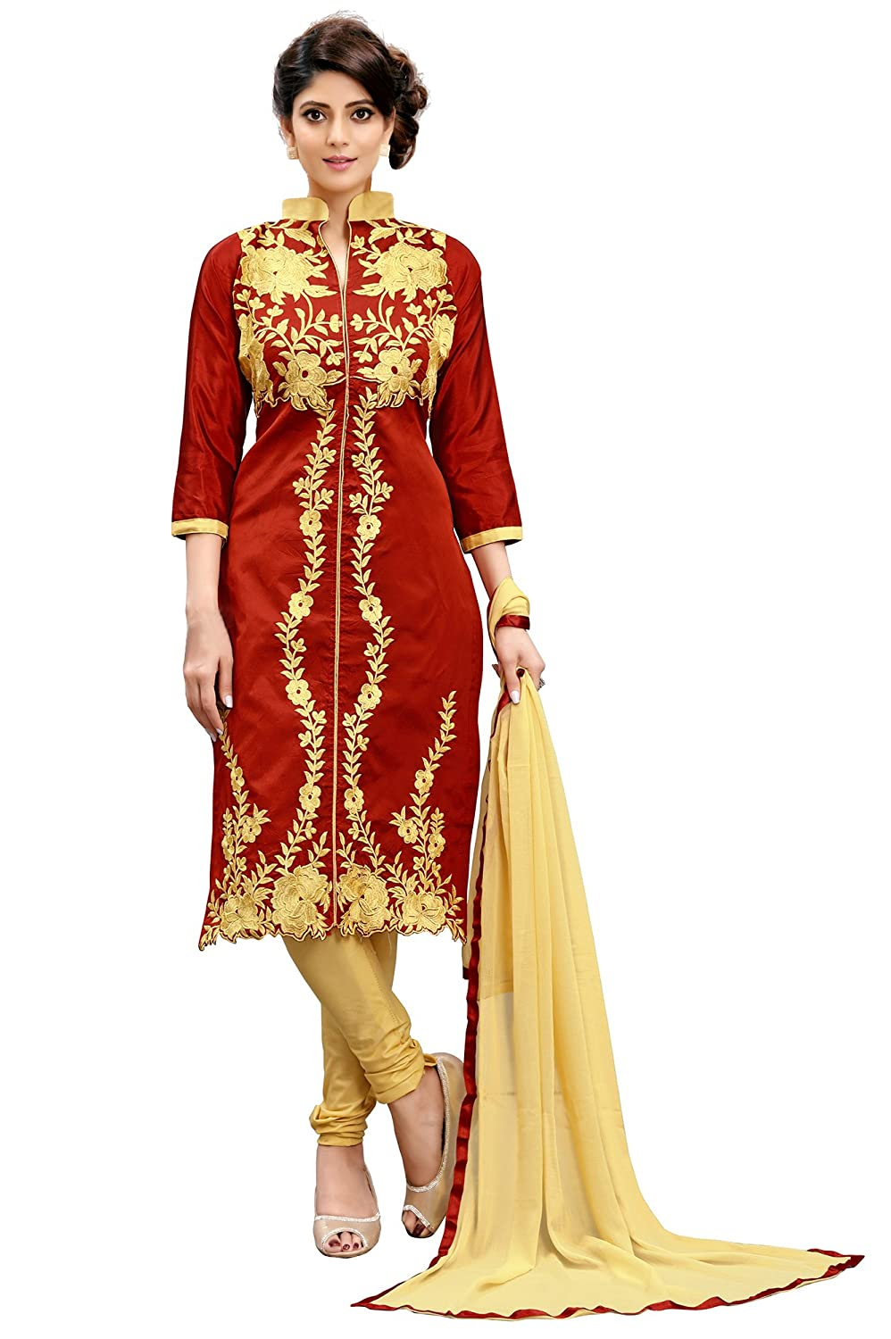 d1da1c32e25d Siddeshwary Fab Women s Red Taffeta Silk Embroidered salwar suits for women  ( Dress Material   Red   Free Size )  Amazon.in  Clothing   Accessories