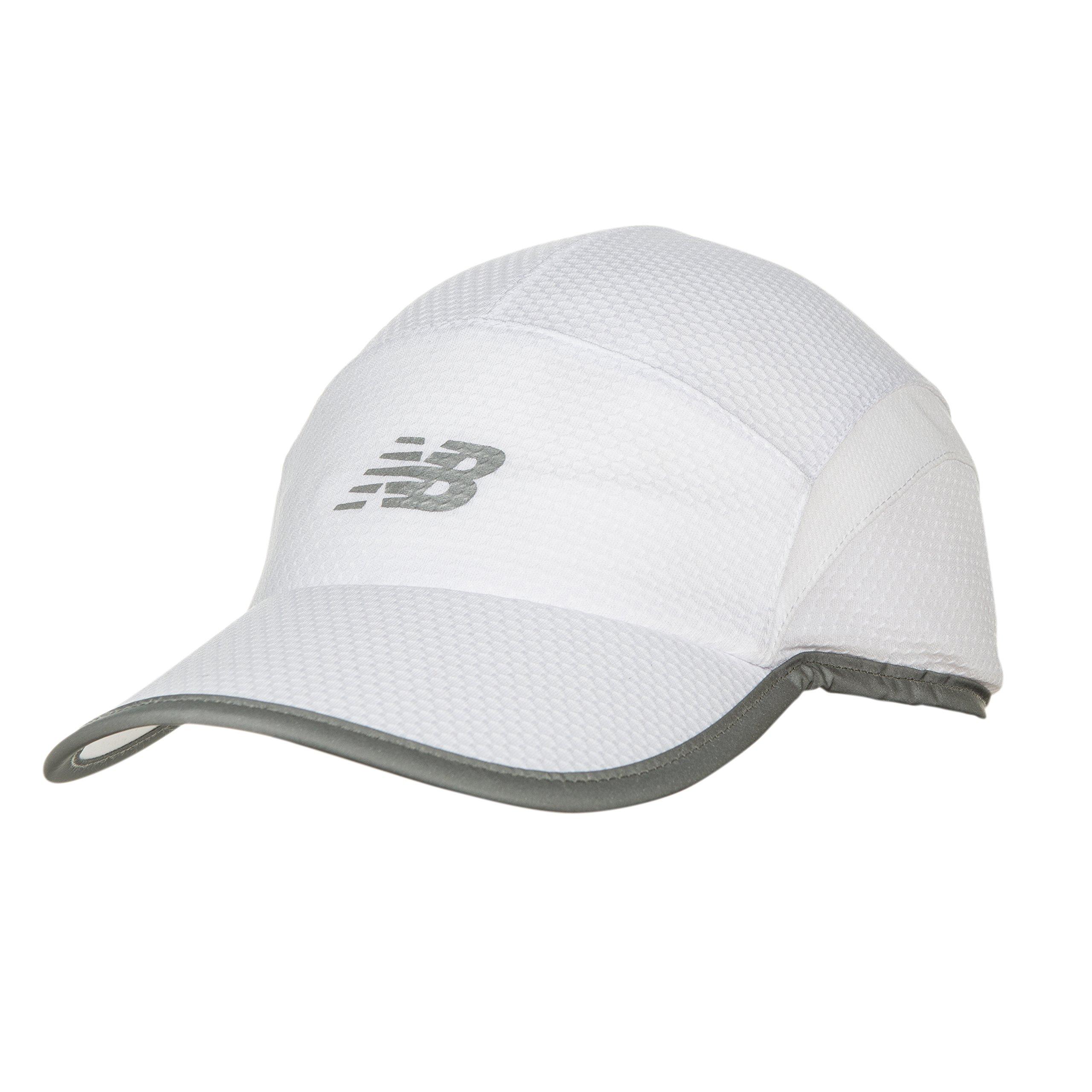 New Balance 5 Panel Performance Hat, White, One Size