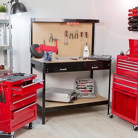 120x60x156cm   No. 400855 TecTake /Établi datelier avec panneau /à outils et tiroir de rangement en bois et acier diverses tailles au choix