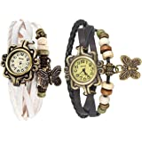 Shree Butterfly Multicolour Analog Watch for Women and Girls - Pack of 2