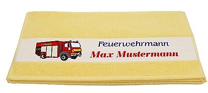 Toallas – Diseño de bomberos con nombres en 7 colores diferentes, amarillo, 50 x