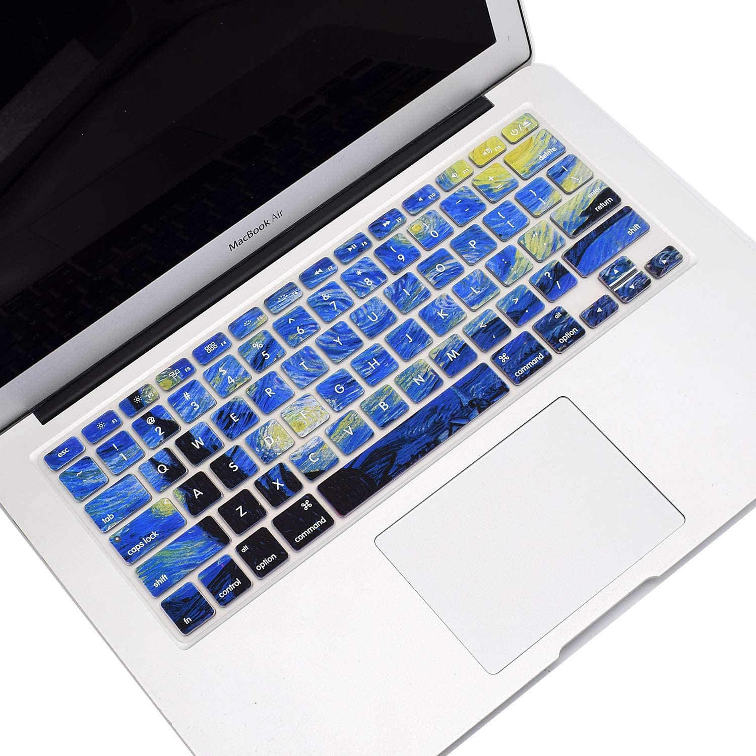 Funut MacBook Keyboard Cover Dust-Proof Silicone Keyboard Protector for MacBook Pro 13 15 17 with or Without Retina Display, 2015 or Older Version iMac and Air 13, Van Gogh Starry Night