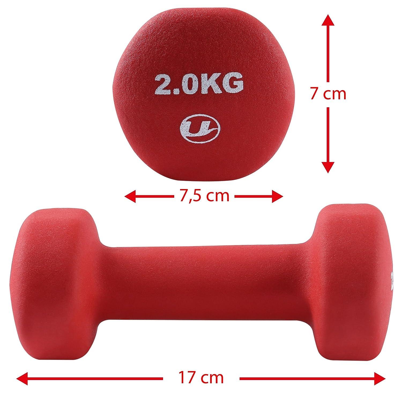 Ultrasport 331100000030 - Pesas gimnásticas de goma, 2 x 2 kg: Amazon.es: Deportes y aire libre