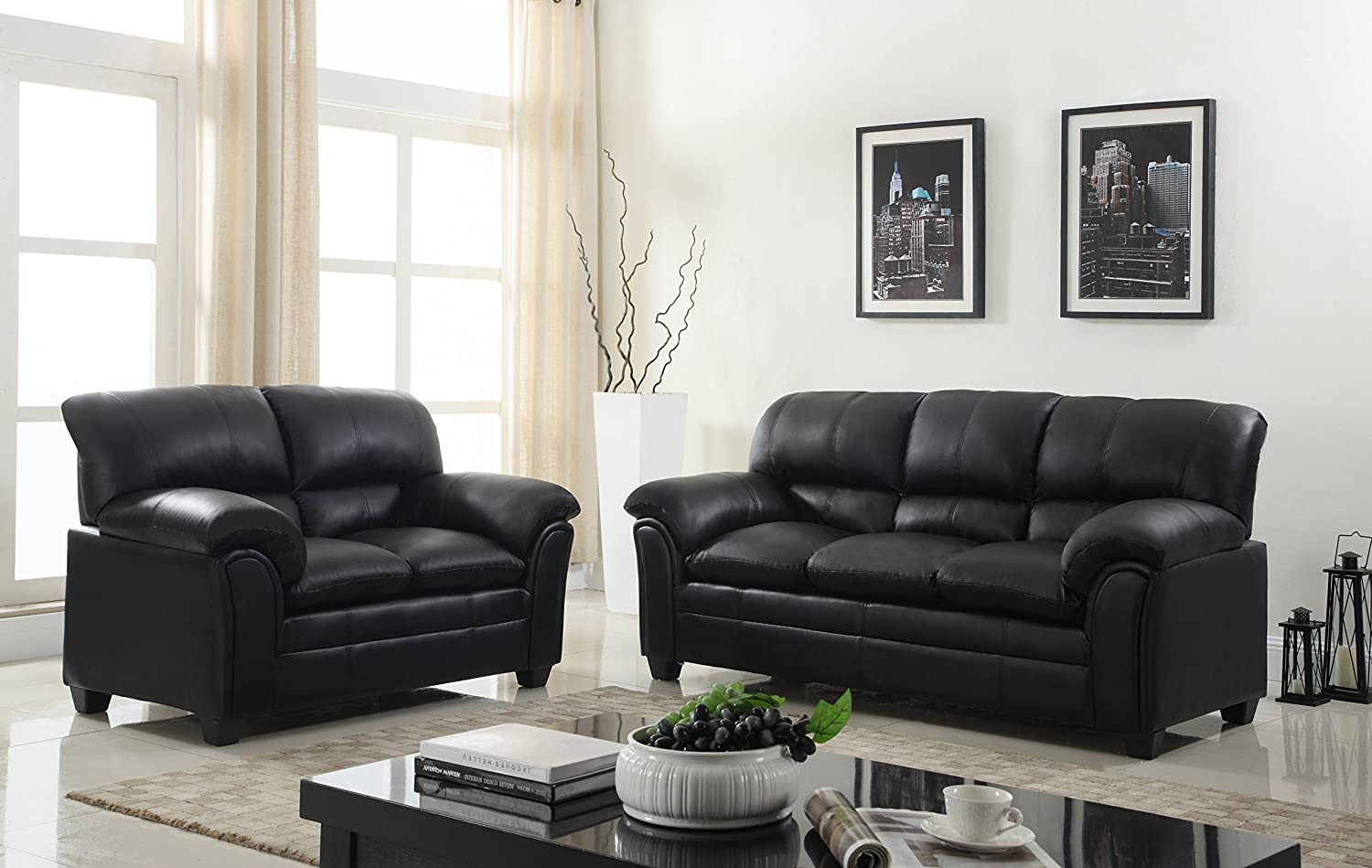 Amazon com gtu furniture new faux leather sofa and loveseat living room furniture set black kitchen dining