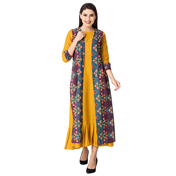 f05c5d8a254 Khushal Women s Cotton Printed Long Length Yellow Kurtas With Jacket  (Kk-09 Small)