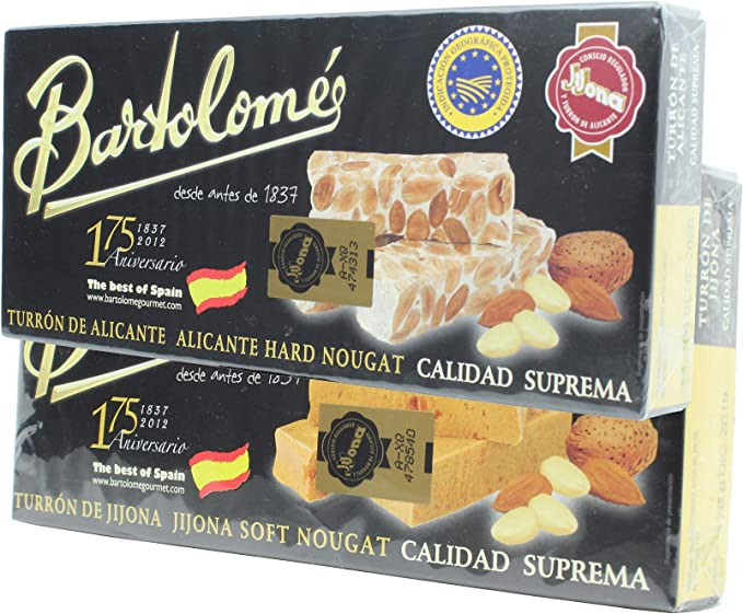 Bartolomé desde antes de 1837 Pack 2 Cajas Turrón - Alicante y Jijona - 2 x 150 Gramos: Amazon.es: Deportes y aire libre