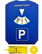 M&H-24 Parkscheibe Parkuhr fürs Auto mit Einkaufswagenchip und Reifenprofilmesser Eiskratzer Kunststoff Blau