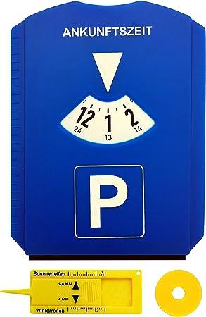 M H 24 Parkscheibe Auto Mit Einkaufswagenchip Und Reifenprofilmesser Parkuhr Mit Eiskratzer Aus Kunststoff In Blau Auto