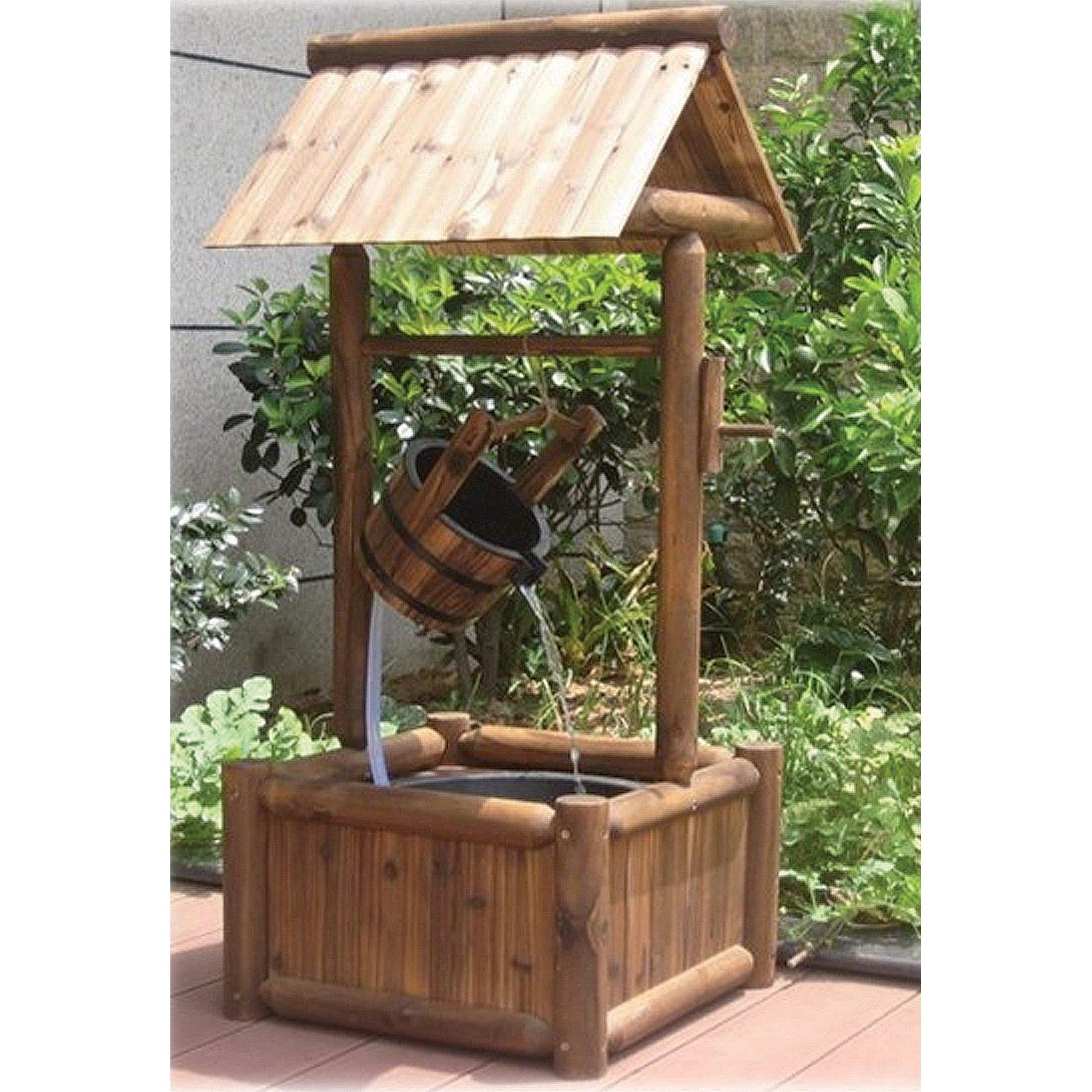 Wooden Garden Wishing Well Fountain