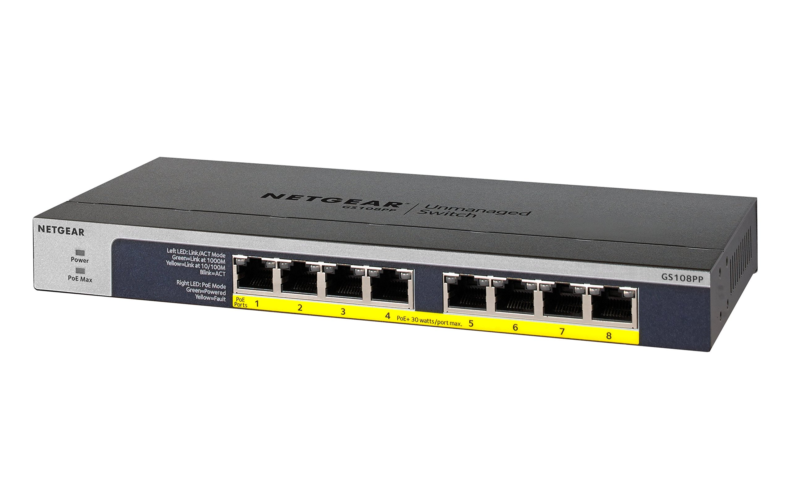 NETGEAR 8-Port Gigabit Unmanaged Switch, PoE/PoE+ 120W, Fanless, Rackmount, Plug-and-Play, ProSAFE Lifetime Protection (GS108PP) by NETGEAR (Image #2)