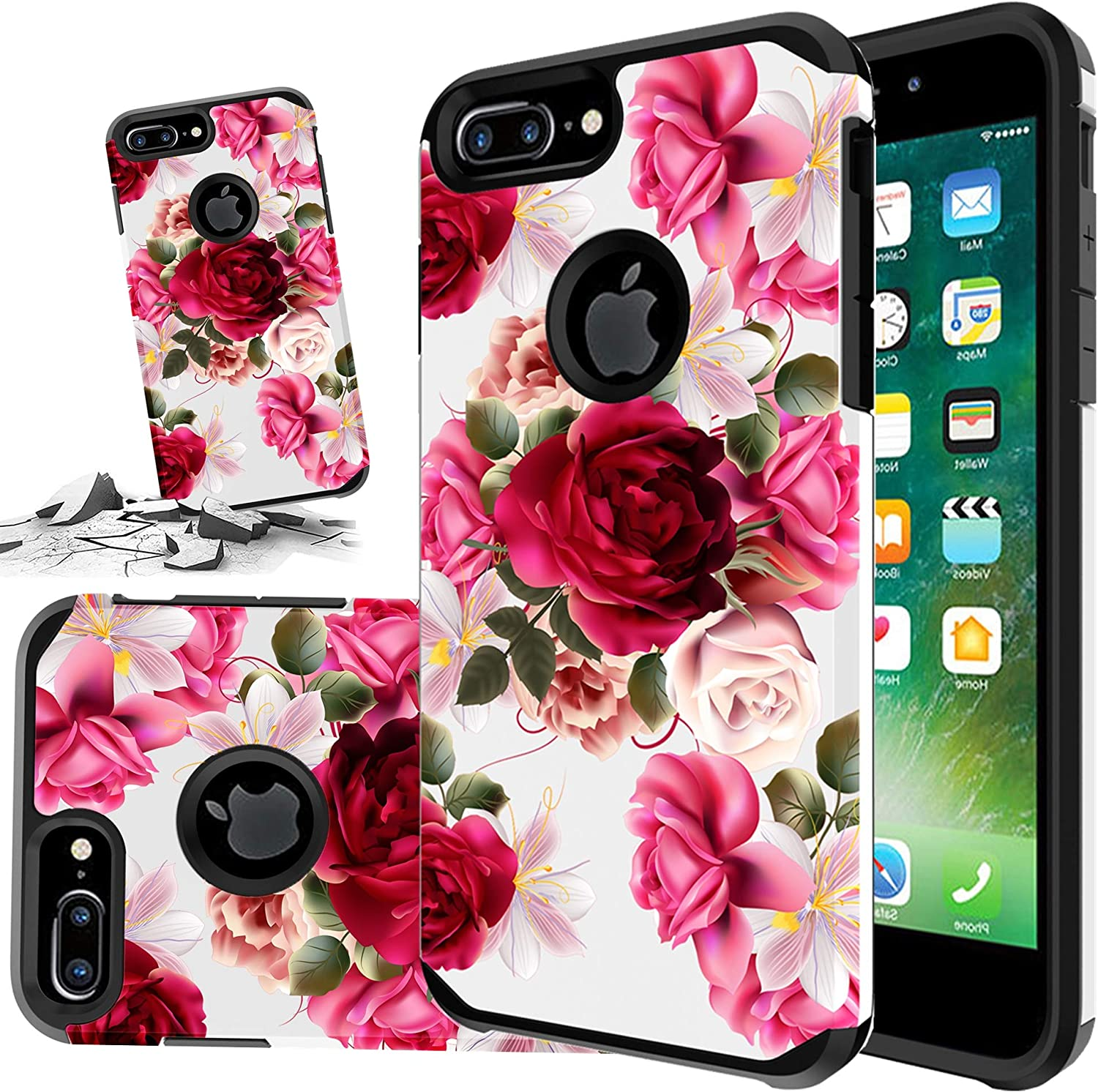 Red Floral Phone Case Compatible for [ iPhone 6 Plus & iPhone 6s Plus ] Storm Buy [Shock Absorption] Dual Layer Heavy Duty Pink Rose Protective Girl Women Cover (Red- IP6/6S Plus-RR)