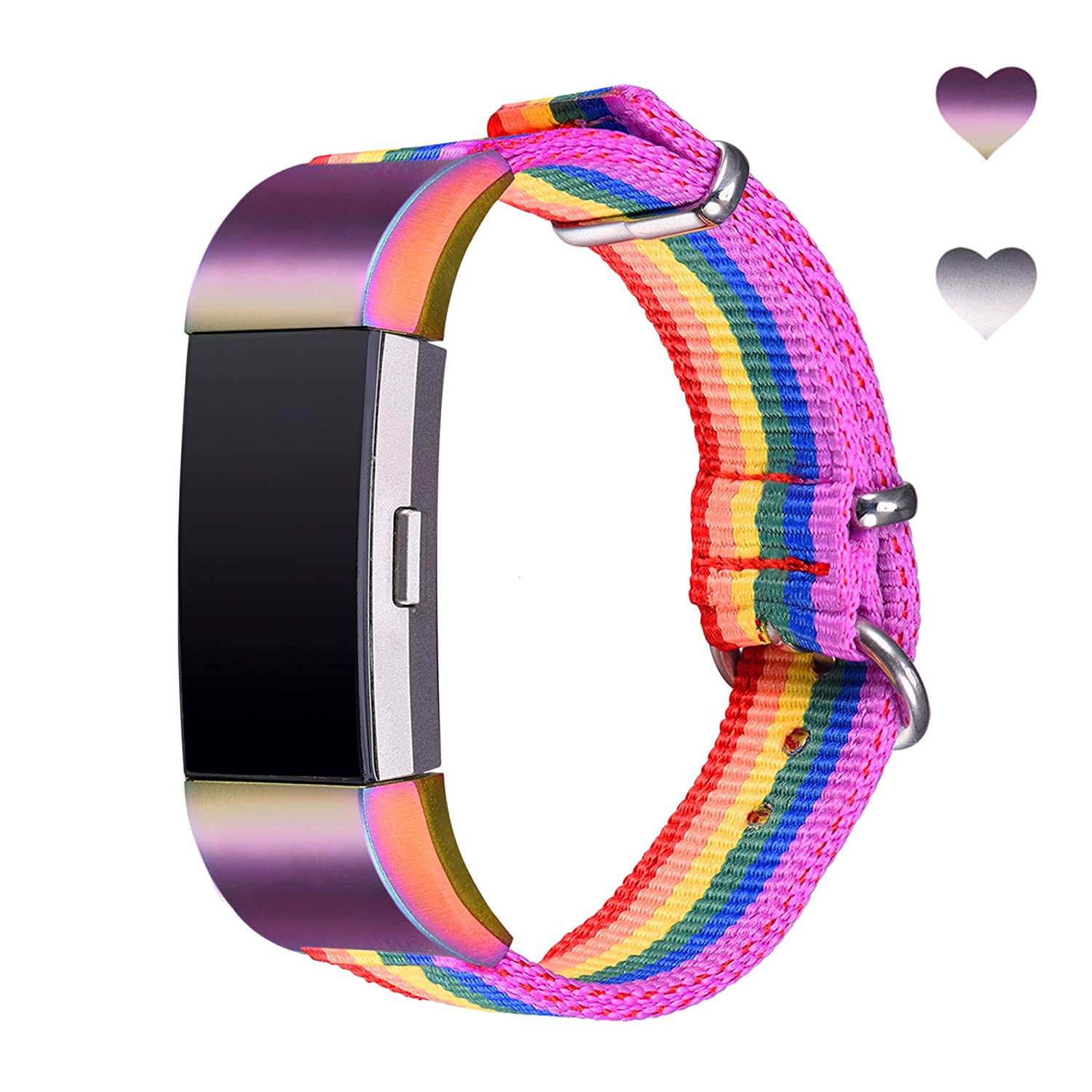 Bandmax Armband für Fitbit Charge 2, Kristall Metall Gliederarmband Ersatzarmband Wrist Armband Uhrenarmband für Fitbit Charge 2 #BM-FBC2827