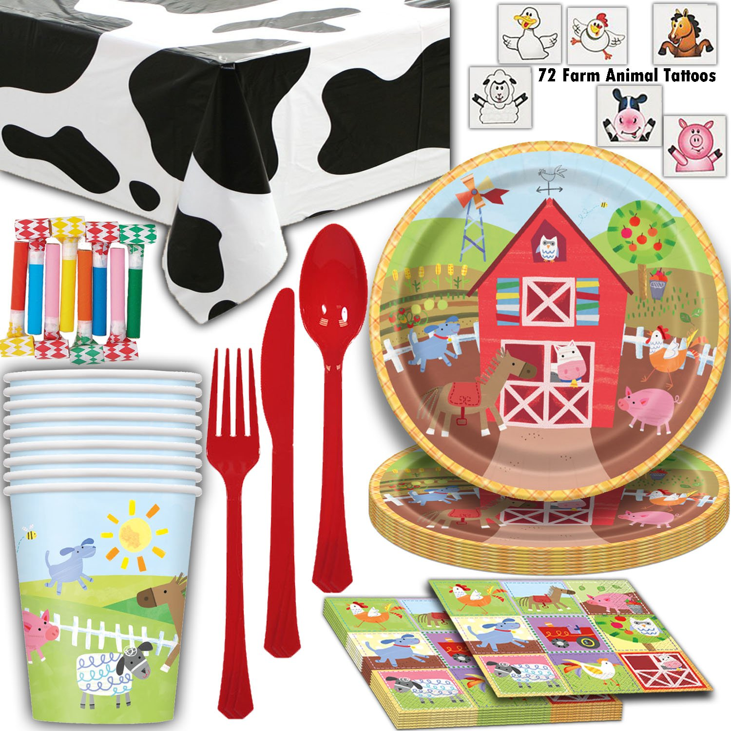 HeroFiber Farm House Animal Party Supplies - 8 Guest - Plates, Cups, Napkins, Cow Tablecloth, Cutlery, Farm Animal Tattoos, Blowouts - Perfect for a Farmer or Petting Zoo Theme Birthday Party
