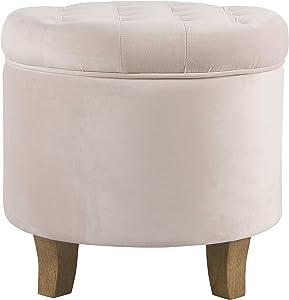 HomePop Velvet Tufted Round Storage Ottoman - Pink Blush (K6171-B258)