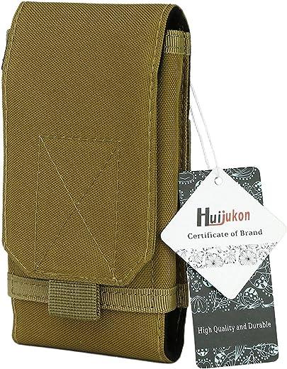 Huijukon Molle - funda táctica para reloj inteligente, estilo militar 1000D de nailon, con gancho bucle para el cinturón, 12 cm para iPhone 7 de 12 cm y iPhone 7Plus de 14 cm - HJK5152, Caqui