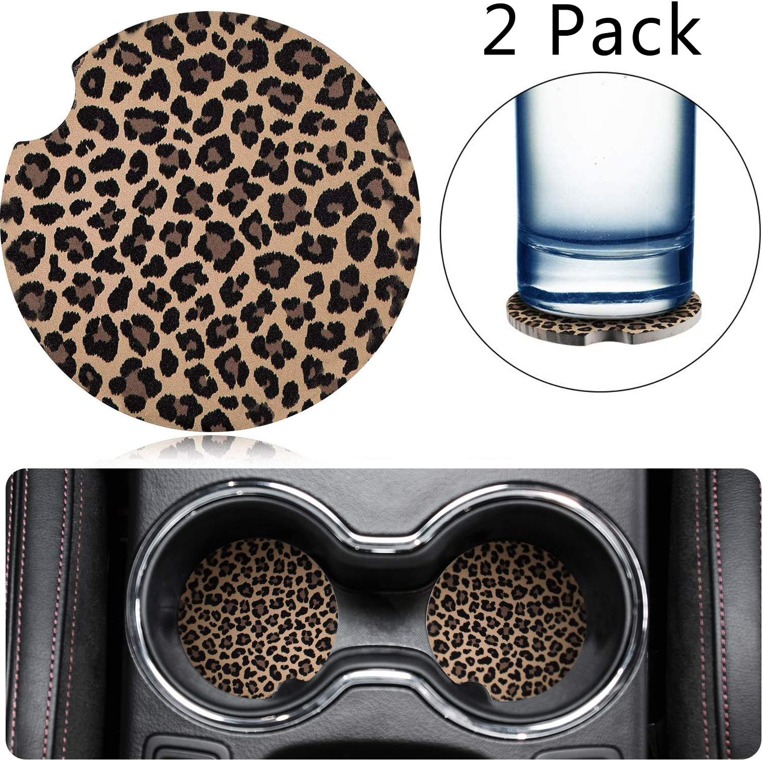 2 2.56 Inch Leopard Car Coasters for Drinks Neoprene Cup Coaster Rubber Car Cup Pad Mat Car Accessories for Car Living Room Kitchen Office to Protect Car and Furniture