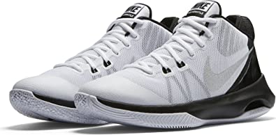 Nike Mens Air Versitile Basketball Shoe White/Metallic Silver/Black 10