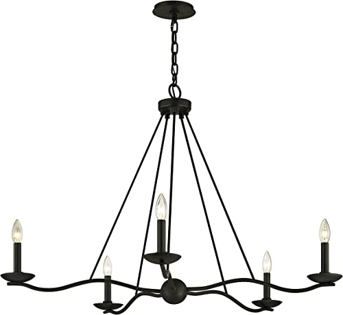 Troy Lighting F6305 Sawyer Chandelier, Forged Iron
