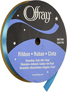 product image for Offray Single Face Satin Craft Ribbon, 3/8-Inch by 20-Yard Spool, Turquoise