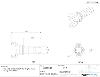 Dixon Gam11 Plated Steel Global Air Hose Fitting King Universal